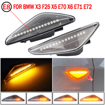 2Pcs Sequential Dynamic Flowing LED Side Marker Light Turn Signal Light Blinker For BMW E70 X5 F25 X3 E71 X6 2008-2014 image