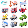 12PCS Set Mini In Legno Auto Modello di Aeroplano Giocattolo di Stile Semplice di Colore Della Decorazione di Legno Auto Aereo Mini Giocattolo Educativo Per bambini