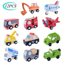 12PCS Set Mini Wooden Car Airplane Model Toy Simple Style Decoration Color Wooden Car Airplane Mini Educational Toy For Children