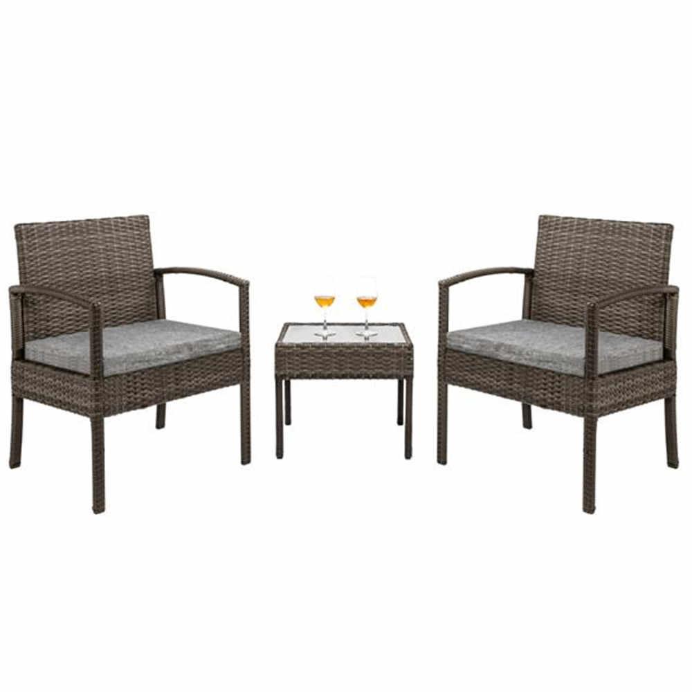 3 piece patio furniture set wicker
