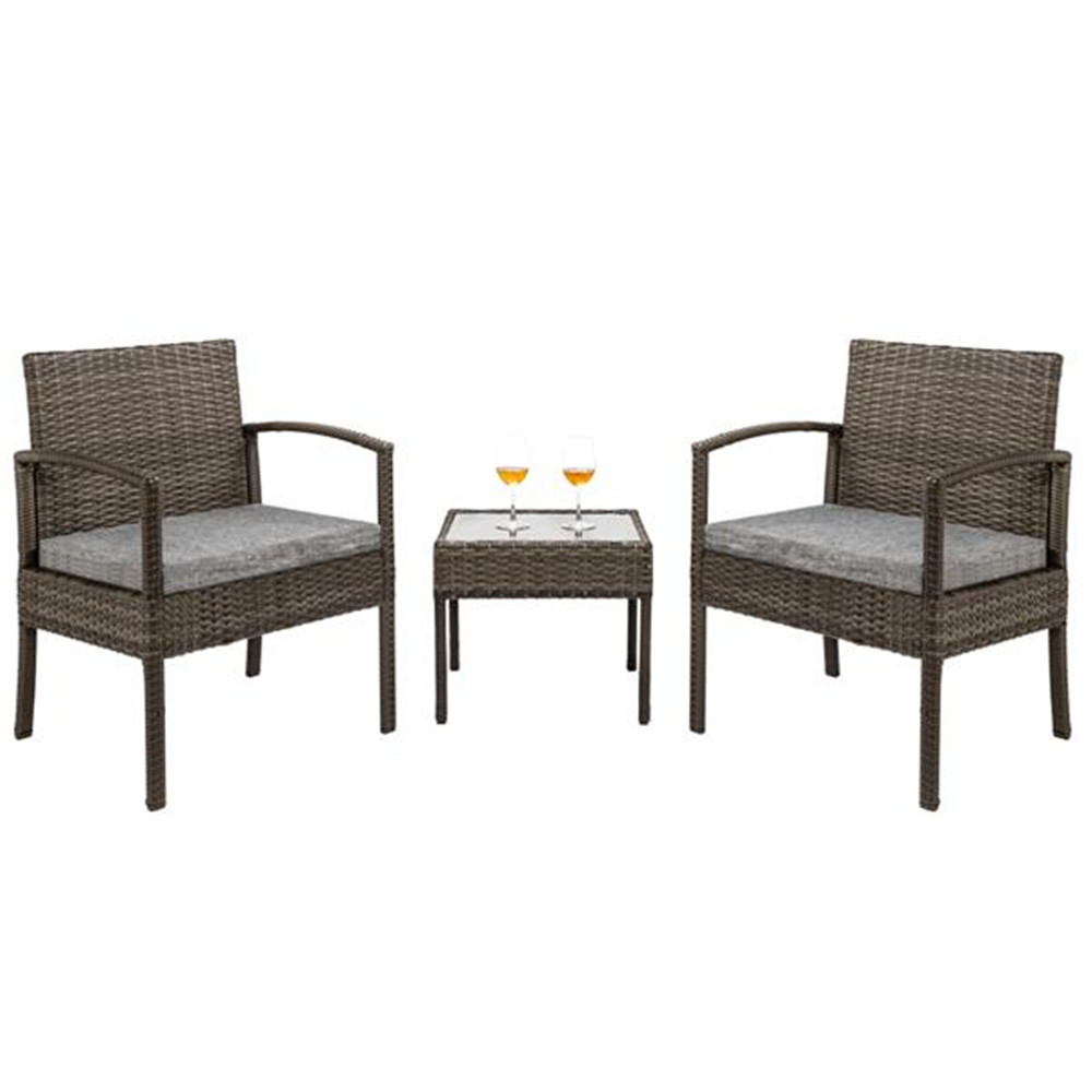 3 Piece Patio Furniture Set Wicker Rattan Outdoor Patio Conversation Set 2 Cushioned Chairs & End Table Garden Chairs