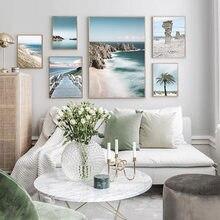Ocean Sea Beach Bridge plakat na płótnie Nordic natura krajobraz morski na ścianę drukowany obraz malarstwo skandynawski salon obraz do dekoracji