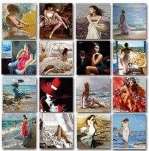 Pintura por números para adultos, conjunto de mujer, pintura acrílica, lienzo, 50x65, cuadro artesanal, dibujo, colorear por números, decoración