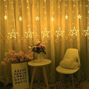 Image 3 - מרחוק LED וילון אורות 12 כוכב 138 LED חלון נטיף קרח מחרוזת אור 8 מצב זר חג המולד אורות חיצוני תפאורה חתונה בית