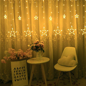 Image 3 - Remote LED Curtain Lights 12 Star 138 LED Window Icicle String Light 8 Mode Garland Christmas Lights Outdoor Decor Wedding Home