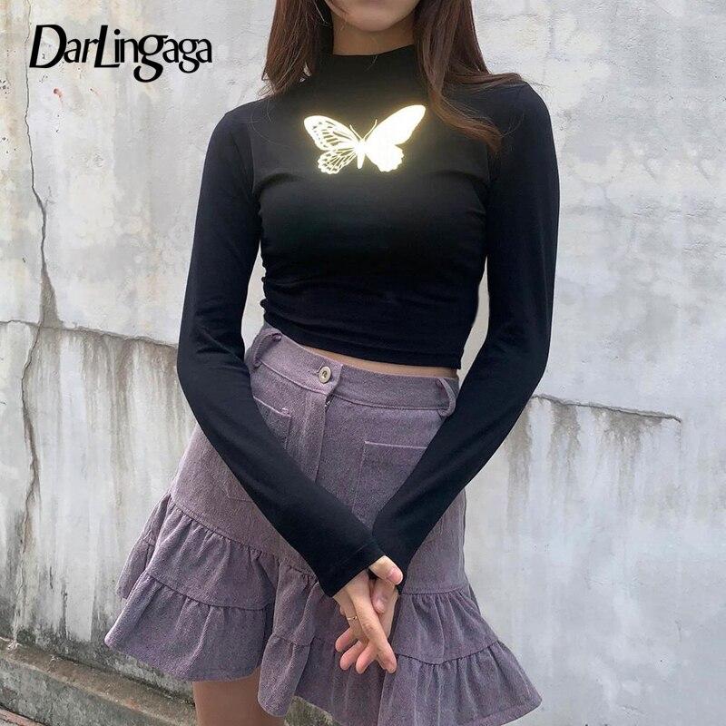Darlingaga Reflective Butterfly Print Harajuku Black T Shirt Long Sleeve Crop Top Tee 2020 Fashion Skinny Female T-shirt Clothes