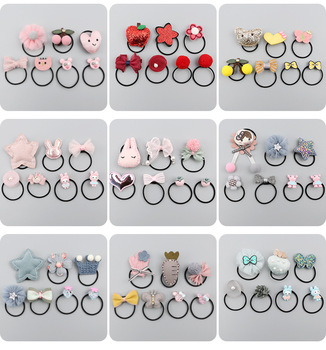 Childrens Hair Circle Thumb Thick Small Girls Volume Less Rubber Band Accessories Set