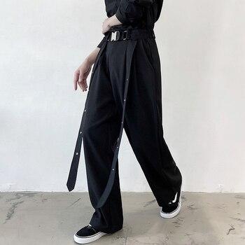 2020 Black personality streamer loose straight pants pants men's hair stylist nightclub casual pants fashion