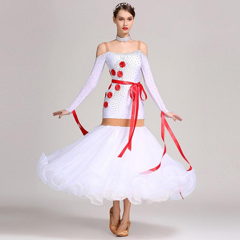 2020 New Ballroom Dance Competition Dress Dance Ballroom Waltz Dresses Standard Dance Dress Women White Ballroom Dress