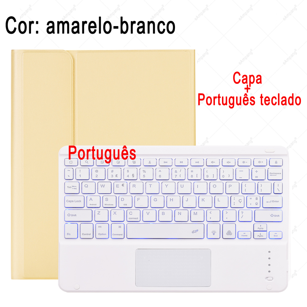 Portuguese Keyboard Blue Transparent For iPad 7th 8th Generation 10 2 2019 A2200 A2198 A2232 Case with Backlit Touchpad Keyboard