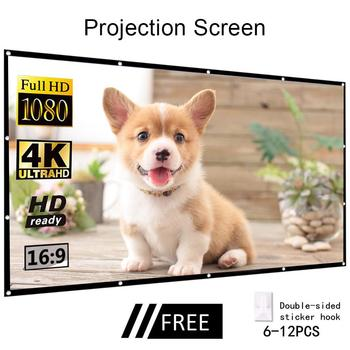 60''-150'' Portable Projector Screen HD 16:9 White Dacron Diagonal Video Projection Screen Foldable Wall Mounted For Home Theate excelvan 150 inch 16 9 collapsible pvc hd portable home and outdoor use projector screen with hanging hole for front projection