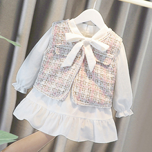 Baby Girls Clothing Set Classic Plaid Lace Dress With Vest Two Pcs Kids Spring Autumn Elegant Suits Child Vestido
