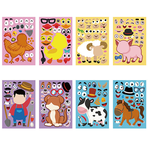 4 Pcs Kids Funny DIY Stickers Puzzle Games Make A Face Princess Dinosaur Animal Baby Recognition Training Education Toy