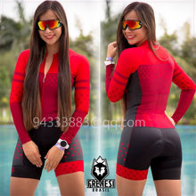 FRENESI women cycling skinsuit summer sports triathlon suit Colombia red long sleeve bicycle riding running jumpsuit Swimsuit(China)