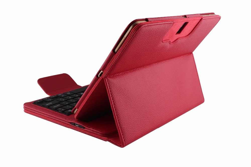 Bezprzewodowy etui z klawiaturą na bluetooth dla Samsung Galaxy Tab S 10.5 SM-T800 T800 T805 klawiatura tabletu PU inteligentne etui ze skóry + długopis