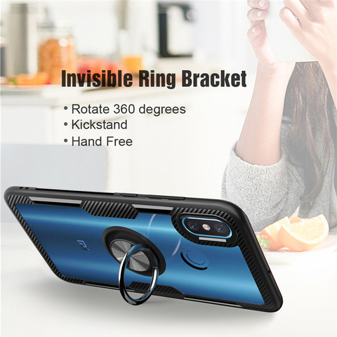Transparent Silicone Case For Xiaomi Mi 9 8 SE Lite Shockproof Armor Metal Ring Holder Stand Back Covers Xiaomi Mi8 Cases Mi9 On Islamabad