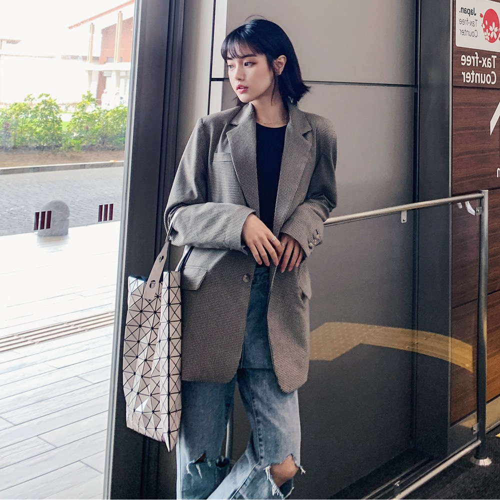 Women's mid-length retro jacket coat 2020 new spring and autumn high quality plaid ladies blazer Fashion small suit Feminine