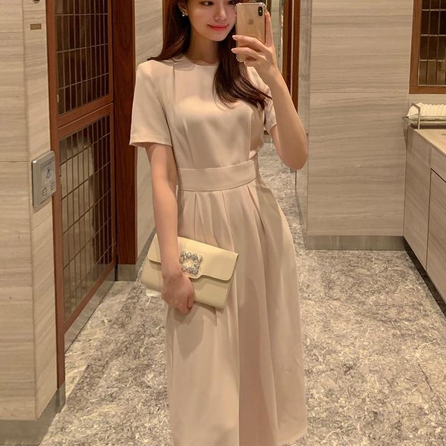 Women Elegant Vestidos 2021 Summer Korean Style Slim Elegant  Party Chic Casual Spilt Dresses 2