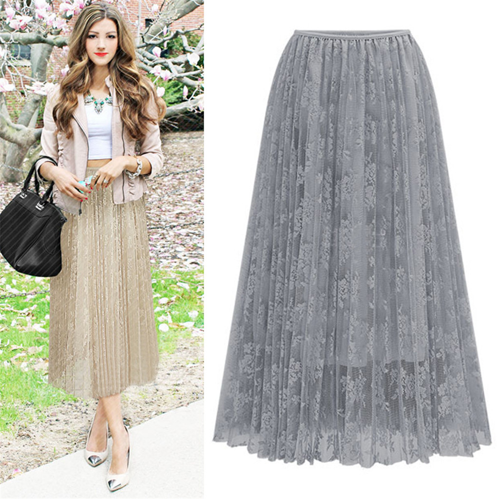 Skirt Pleated Ladies Fluffy Net Skirt Fashion Women Tulle Skirt High Elasticity High Waist In Spring And Summer #YL10