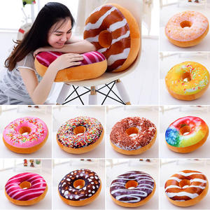 Case-Cover Cushion Pizza Doughnut Cake-Meat Food-Prints Novelty-Style Plush Soft Round