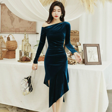 2019 Autumn Winter Sexy Party Dress Women Long Sleeve Casual Blue Velvet Draped Asymmetrical Bandage Bodycon Dresses