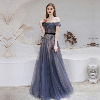 Dubai Dark Blue Evening Dresses 2021 New Arrivals Luxury Beaded Beading Formal Gown for Women - discount item  44% OFF Special Occasion Dresses