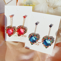MENGJIQIAO Korean New Hot Sale Luxury Heart Crystal Long Pendientes Mujer Moda Colorful Rhinestone Drop Earrings Party Jewelry