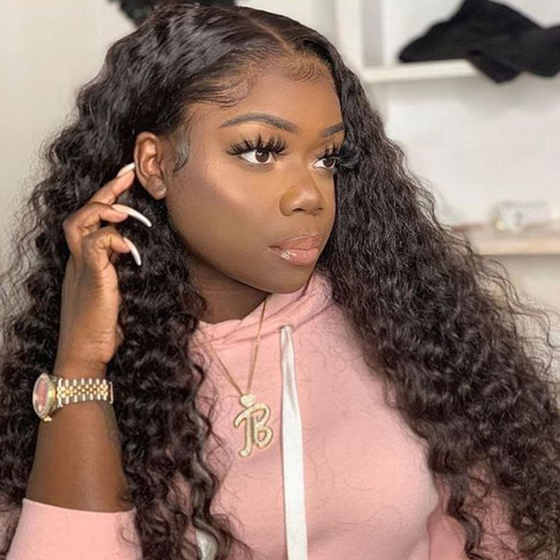 Deep Wave HD Transparent Lace Wigs 360 Lace Frontal Wig Pre Plucked 13x6 Curly Lace Front Human Hair Wigs For Women Ever Beauty
