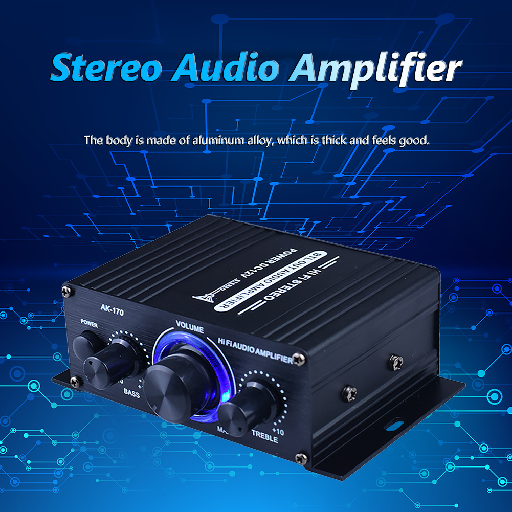 20W+20W Dual Channel Car HiFi Stereo Audio Power Amplifier DC 12V Bluetooth-compatible Power Amp RCA Input with Blue Light