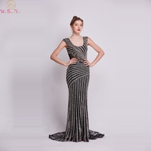 100% Real Pictures Black Mermaid Evening Dresses 2019 Sleeveless Luxury Crystal Sexy Illusion Vestidos Long Formal Party Gowns