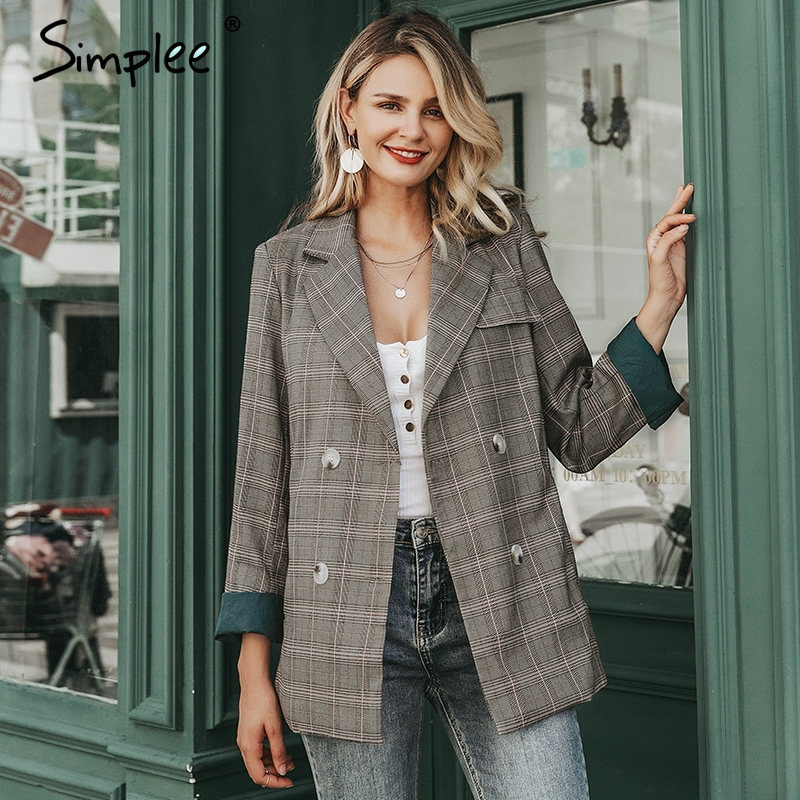 Simplee Plaid Long Sleeve Female Blazer Stripe Lining Office Ladies Blazer Autumn Winter Casual Outwear Women Jacket Coat 2019