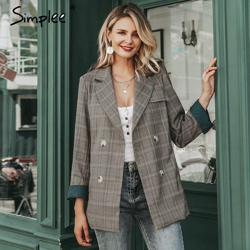 Simplee Plaid Long Sleeve Female Blazer Stripe Lining Office Ladies Blazer Autumn Winter Casual Outwear Women Jacket Coat 2019