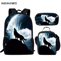 INSTANTARTS Cool 3D Wild Wolf Printing Travel Bags School Bag Set for Teenage Boys Fashion Fierce Animal Backpack Child Rucksack