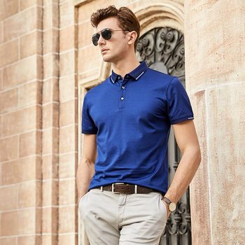 Men Summer Mulberry Silk Short Sleeve t shirt England Fashion Solid Color T-shirt Mens Pullover Turn-down Collar Business tshirt