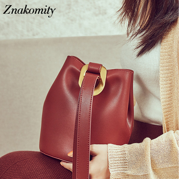 Znakomity fashion bucket bag women one-shoulder genuine leather ladies shoulder bag high quality casual crossbody bag retro red