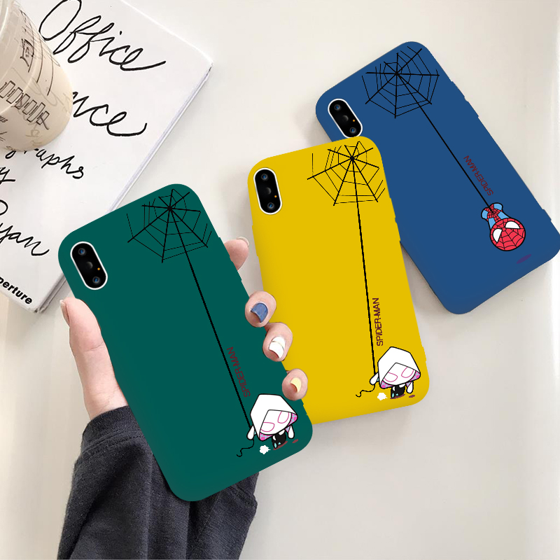 Cartoon Marvel SpiderWoman Spiderman Cute Candy Color Cover for iphone x xs max xr Case For iPhone 7 8 6 6s Plus Capa in Fitted Cases from Cellphones Telecommunications