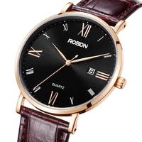 Men's Watches Luxury Brand ROSDN 50M Waterproof Watch Men Genuine Leather Strap Japan Quartz Movement Male Clock R3627