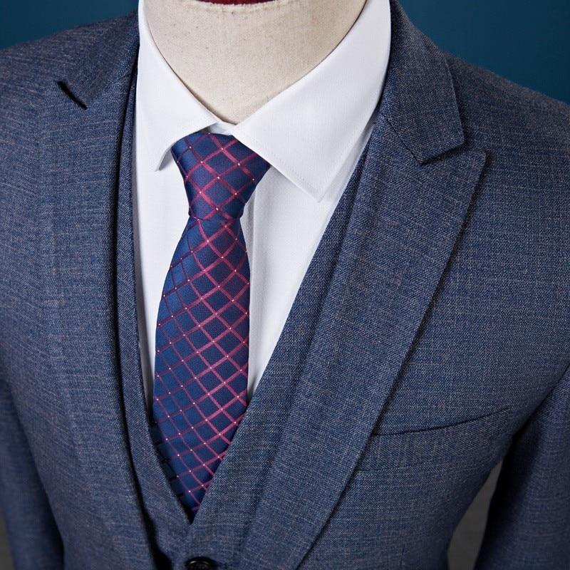 Новый приталенный мужской костюм для свадьбы жениха размера плюс 4XL 2020 джентльменский Бизнес Повседневный смокинг мужской темно серый сини... - 4