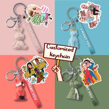 Custom Personalized Keychain Car Keychains Cute Key chain Couple Key Ring Key Holder Double Side Keyring Gift for Men Women flower key chain poppy flowers key ring double side glass ball keychain pendant keyring