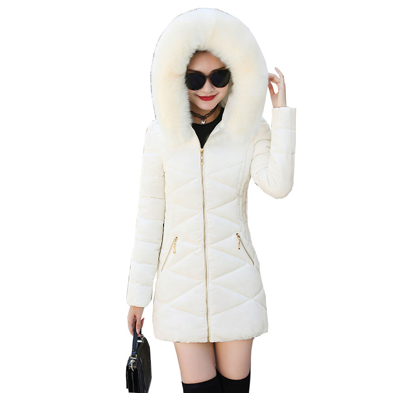 Fur Collar Hooded Winter   Down     Coat   Bomber Jacket Warm Women Casaco Feminino Abrigos Mujer Invierno 2018 Wadded Parkas Outwear