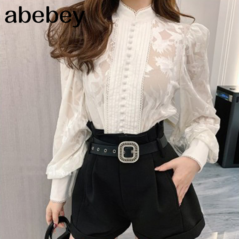 Korean Shirts For Women Stand Collar Puff Long Sleeve Patchwork Buttons Designer Oversized Loose Blouses Female 2021 New