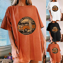 Goutte Epaule Graphique Surdimensionné T-shirt Vintage Bus San Francisco Californie Impression Drôle T-shirt Demi Manches Longues En Vrac D'été Hauts