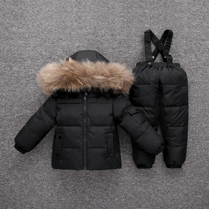 Image 3 -  30 Degrees Winter Warm Baby Down Ski Set Baby Girls Thickening Down Snowsuits Baby Boys Natural Fur Jacket+Pant