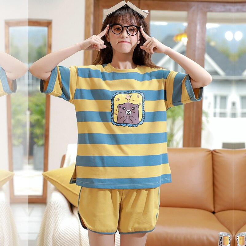 Caiyier New 2020 Cute Duck Print Pajamas Set Cotton Short Sleeve Sleepwear Summer Women Nightwear Casual Cosy Girls Home SuitsPajama Sets   -