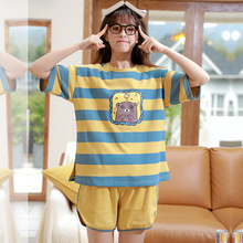 Caiyier New 2020 Cute Duck Print Pajamas Set Cotton Short Sleeve Sleepwear Summer Women Nightwear Casual Cosy Girls Home Suits