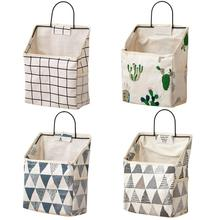 1pcs Wall-mounted Storage Bag Cotton Linen Storage Bag Book Sundries Cosmetics Collector