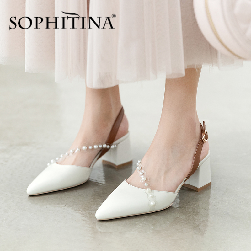 SOPHITINA Elegant Women Pumps String Bead Buckle Decoration High Quality Cow Leather Square Heel Shoes Pointed Toe Pumps PO465