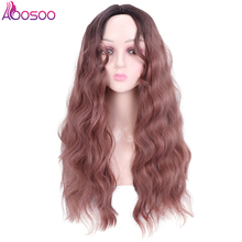 long water wave wig with mid part bangs Synthetic Curly