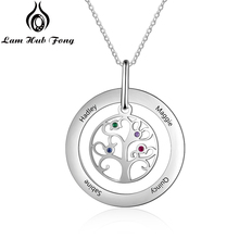 Tree of Life Necklace Personalized Family Tree Necklaces Custom Name Necklace wit 4 Birthstones Gift for Women (Lam Hub Fong)