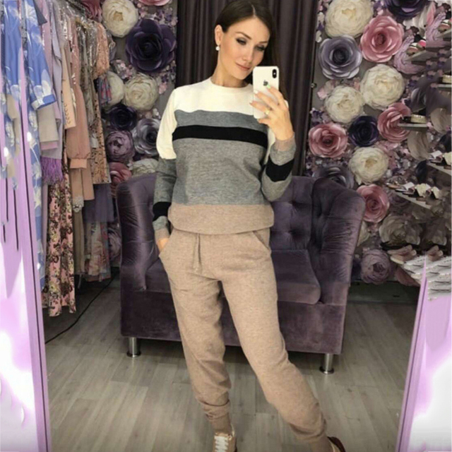 Autumn and winter fashion casual women's knit sweater pants suit knit sportswear color strip stitching wool knit suit 1